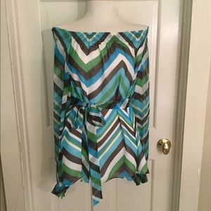Worth Collection Chevron Off Shoulder Blouse